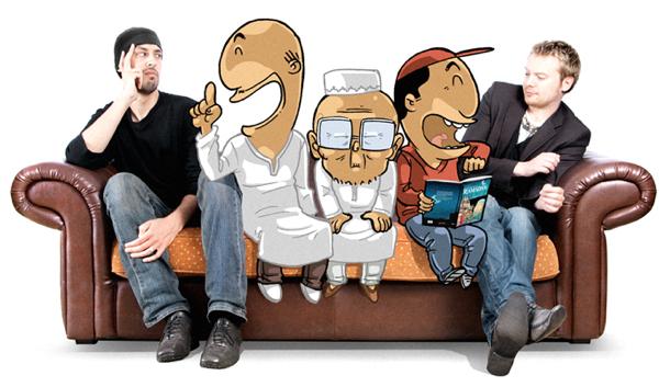 Norédine Allam et Greg Blondin avec leurs personnages